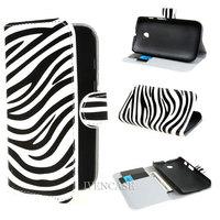Zebra Design Wallet Leather Card Holder Flip Case Cover For Motorola Moto E Dual XT1021 XT1022