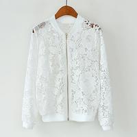 Korean Vesion Jaqueta Feminina Lace Corchet Long Sleeve Zipper Cardigan Ladylike Style Fashion Casual Summer Coats 6016