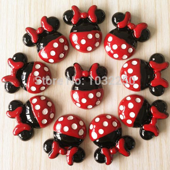 lote 50 peças minnie mouse laço vermelho vestido resina cabochão flatbacks scrapbooking menina do cabelo bow centro bxt369 fazer diy artesanato(China (Mainland))