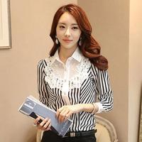 Women Work Wear Vertical Stripes Cardigan Shirts Fashion Mesh Patchwork Lace Beading Decorated Elegant Chiffon Blouse 8018