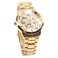 Classic Men's Gold Dial Mechanical Skeleton Automatic Wrist Mens Watch #L05632