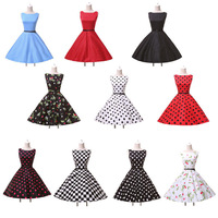 Dropshipping GK Polka Dots Audrey hepburn Women Vintage Retro 50s 60s Dress Rockabilly Pin-up Swing Sexy Party Dress 2015 CL6086
