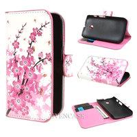 Sakura Flower 37 Wallet Leather Card Holder Flip Case Cover For Motorola Moto E Dual XT1021 XT1022