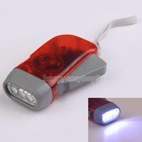 3 LED Dynamo Wind Up Flashlight Hand-pressing Crank NR No Battery Torch     H1E1