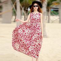 Summer Beach Style Women clothes Sleeveless Slim Waist Maxi Long Chiffon Dresses Bohemian Vintage Casual Holiday Dress 6150