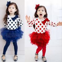 2014 New Girls Dress Spring Autumn Children's clothing  high quality 100% cotton girls' dresses for 2T-11T kids wear TQ003