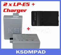 2 pcs digital camera piles battery + akku charger 1000mAh LP-E5 LP E5 for Canon EOS 1000D 450D 500D X2 X3 Rebel T1i Xsi
