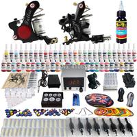Wholesale - Complete Tattoo Kit 2 Pro Rotary Machine Guns 54 Inks Power Supply Needle Grips TK225