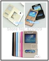 Free Shipping 2014 Double Open-windows series Leather case for LEAGOO lead 3 4.5 inch mobile phone LEAGOO lead 3 cover 6 colors