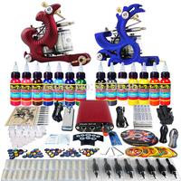 Wholesale - Complete Tattoo Kit 2 Pro Rotary Machine Guns 14 Inks Power Supply Needle Grips TK226