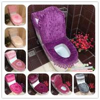 wedding party BA-Series lace three pieces set zipper overcoat toilet case toilet mat toilet seat pad set HD1012