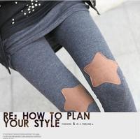 2014 autumn love knee five-pointed star patch 9 pants legging female casual pants slim skinny pants