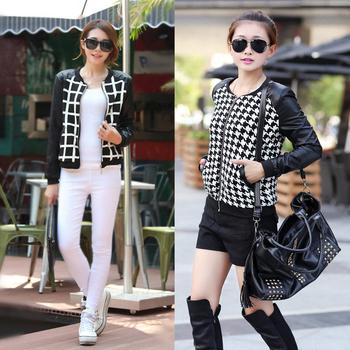 Модный Женщины Короткий Jacket Кожа PU является высокотехнологичным и высокосортным ...