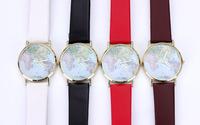 Martian man 2014 new arrival fashion women World map vintage belt watch free shipping D0090