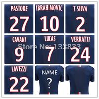 Best thailand quality 2015 jersey 14 15 home ibrahimovic cavani T.SILVA BECKHAM LUCAS LAVEZZI Soccer jersey