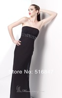 2014 New Fashion Black Long Strapless Beaded Chiffon Party Prom Dresses Bridesmaid Dresses Custom Size Free Shipping