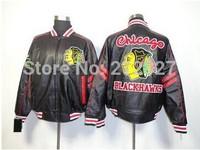 Free shipping wholesale cheap jacket NHL Chicago Blackhawks hockey Leather  black Jacket.size M-XXL