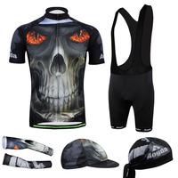 2014 Mens Eyes Fire Skull  Cycling Jersey Short Sleeve With bib shorts Cycling Clothing Bicycle cuff Full set CC2009