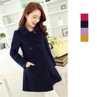 Free shipping 2014 new arrival winter coat women wool coat lady solid fashion coat medium cape wool coat S,M,L,XL,XXL