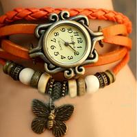 Orange Fashion Ladies Women's Girls Bracelet Quartz Xmas Gifts Analog Wrist Watches W/Butterfly Pendant, Free & Drop Shipping