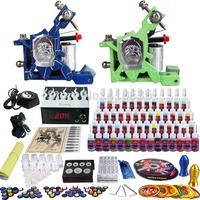 Wholesale - Complete Tattoo Kit 2 Pro Rotary Machine Guns 54 Inks Power Supply Needle Grips TK244
