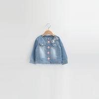 2014 autumn children's clothing female child short design top paillette bow o-neck denim coat outerwear