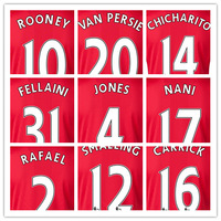 TOP Thailand Quality New 14 15 Home Red Soccer Jersey 2015 Van Persie Rooney Nani Home Football T Shirts
