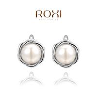 2014 fashion genuine crystal luxury pearl original design  women stud earrings  the best gift jewelry genuine freeshipping