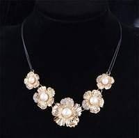 wholesale price cheap leather necklace chain flower necklaces&pendants pearl statement choker necklace#N1665