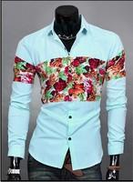 2014 New Brand Fashion Men's Chest Print Flower Shirt Full Sleeve Single Casual Shirts M-XXL 3 Colors Free shipping