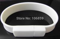White Bracelet PVC USB Flash memory pendrive + Real capacity 8GB 4GB 2GB 1GB + Customer Logo (Optional)+ Free shipping 50pcs/lot