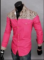 2014 New Brand Fashion Men's Shoulder Leopard Spliced Shirt Full Sleeve Single Casual Shirts M-XXL 4 Colors Free shipping