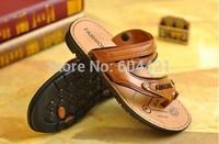 Fashion 2014 Men Casual Sandals Beach Shoes Male PU Flip Flops Euro Size39-43 Free Shipping