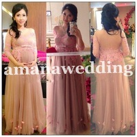 Sexy Vestidos De Noite Sweetheart Neck Beaded Lace Pregnant Woman Dress Pink&Champagne Tulle Long Evening Gown 2014