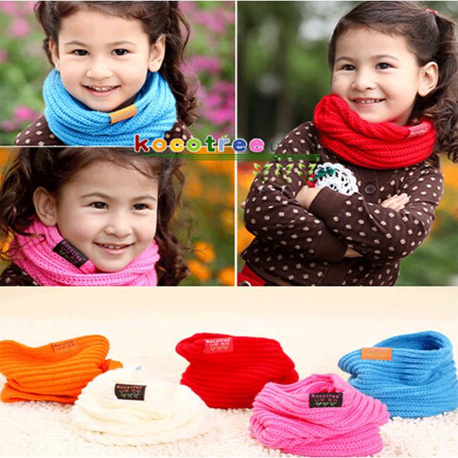 Children's Muffler Baby Warm Scarf Boy /Girl Knitted O Ring Scarf 2014 New Style Designer Knitting Kids Neck Warmer Neckerchief(China (Mainland))