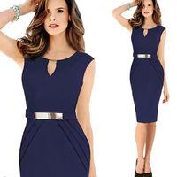 Brief Summer Dress 2014 New Arrival High Waist Vestidos Black Knee-Length Pencil Dress Elegant Star Style Office Dress CD1359