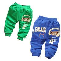 2014 New Arrival Baby Kids Bear Earphone Pants/Boys Casual Autumn Cartoon Trousers/