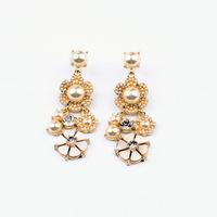 2014 New Style Luxury Statement Fresh Elegant Pearl Flowers Earrings Women Fashion Big Brand Earring Jewelry Accessories