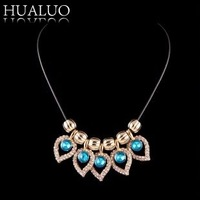 New Arrival Chunky Leather Rope Necklace Chain Multicolor Full Rhinestone Leaves Statement Necklaces&Pendants  #N1658-N1660