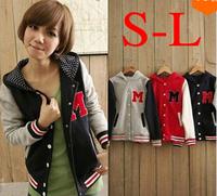 2014 Autumn and Winter Letter M Varsity Jacket Long Sleeve Baseball jacket Coat Sport wear  women With a Dot Hoody S,M,L  #C0850