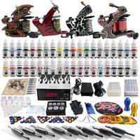 Wholesale - Complete Tattoo Kit 4 Pro Rotary Machine Guns 40 Inks Power Supply Needle Grips TK455
