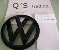 Golf MK7 GTI R Badge Front Grille Emblem Volkswagen GTI Glossy Black [Q'S] 07032