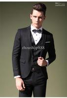 New Design Men's Business One Button Suits(Jacket+pants+vest+tie)Groom Tuxedos Groomsmen Men's Wedding suits(custom-made)