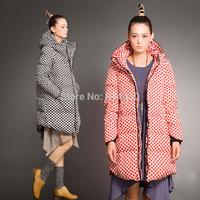 2014 New Arrival Winter Jacket Women Warm Down Jacket Thick Polka Dot Coat Medium-Long Duck Down Parka Plus Big Size S-5XL
