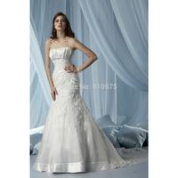 Mermaid Strapless Taffeta Long Wedding Dress With Embroidery HWGJMWD3