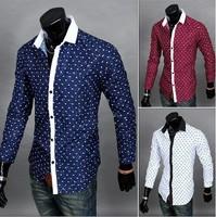 2014 New Brand Fashion Men's Print Dot Love Heart Shirt Full Sleeve Single Casual Shirts M-XXL 3 Colors Free shipping