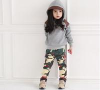Autumn  Gray Hooded +pants Cool girls suit baby girls kids suit kids clothing set  SL228  retail free shipping