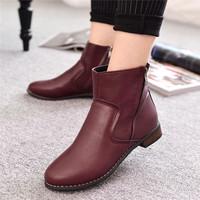 Moda salto baixo Martin botas Zip rodada toe ankle boots botas outono Femininas 2014 preto e vinho tinto L2336