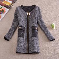 Free shipping U&Me new 2014 autumn and winter European Grand Prix long high-end dual-pocket women wool coat jacket outerwear