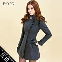 Free shipping 2014 Winter Women really making simple collar Korean Slim casual wool coat ;ady woolen coat long S,M,L,XL,XXL